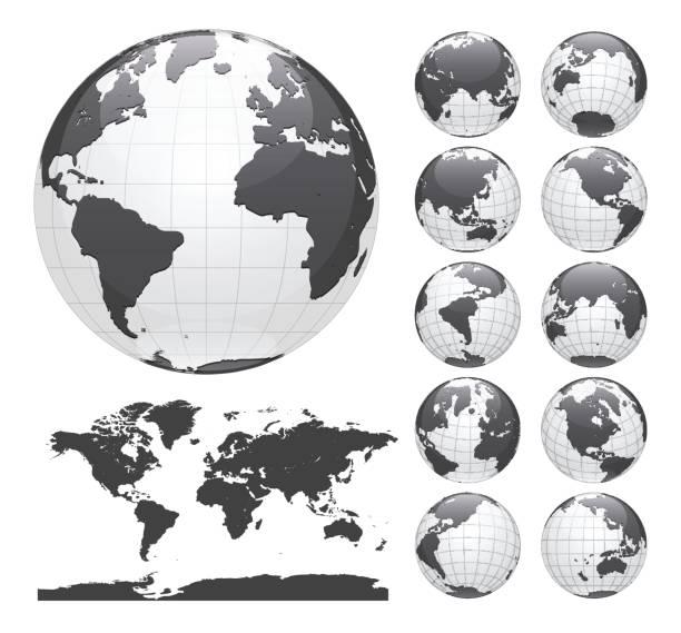 Globen, die Erde mit allen Kontinenten zeigt. Digitalen Welt Globus Vektor. Gepunktete Welt Karte Vektor. – Vektorgrafik