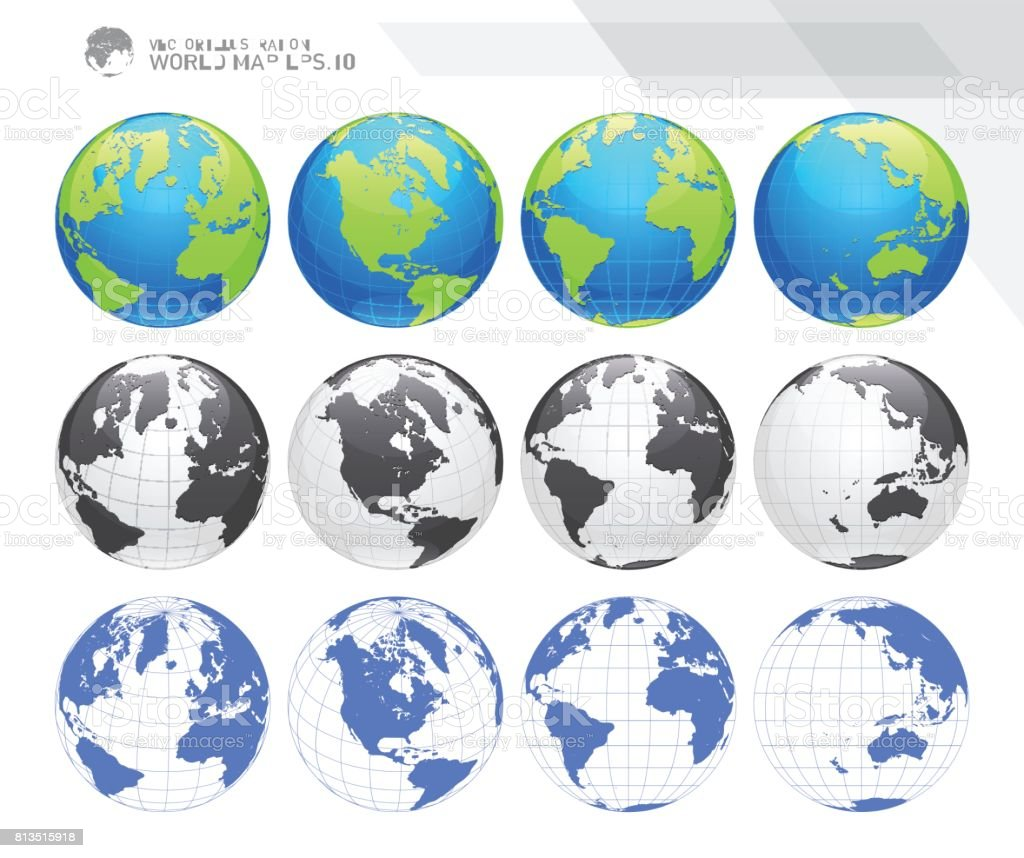 Globes showing earth with all continents digital world globe vector globes showing earth with all continents digital world globe vector dotted world map vector gumiabroncs Images