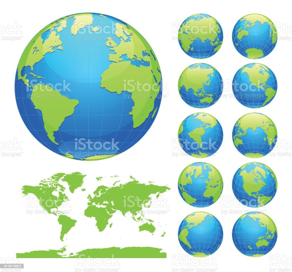 Globes showing earth with all continents digital world globe globes showing earth with all continents digital world globe vector dotted world map vector gumiabroncs Image collections