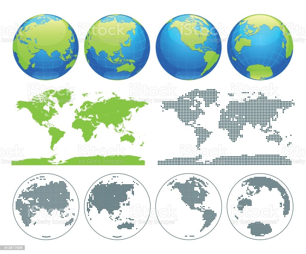 Globes showing earth with all continents digital world globe vector globes showing earth with all continents digital world globe vector dotted world map vector gumiabroncs Choice Image
