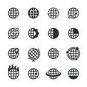 Globes Silhouette Icons Vector EPS File.