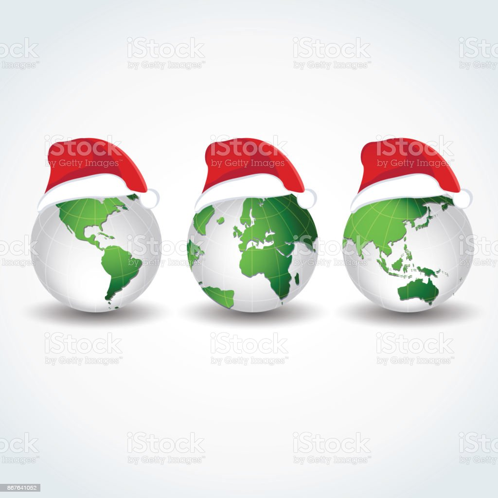 Globes With Christmas Hats Joy To The World Stock Vector Art & More ...
