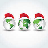 Globes with Christmas hats. Joy to the world.