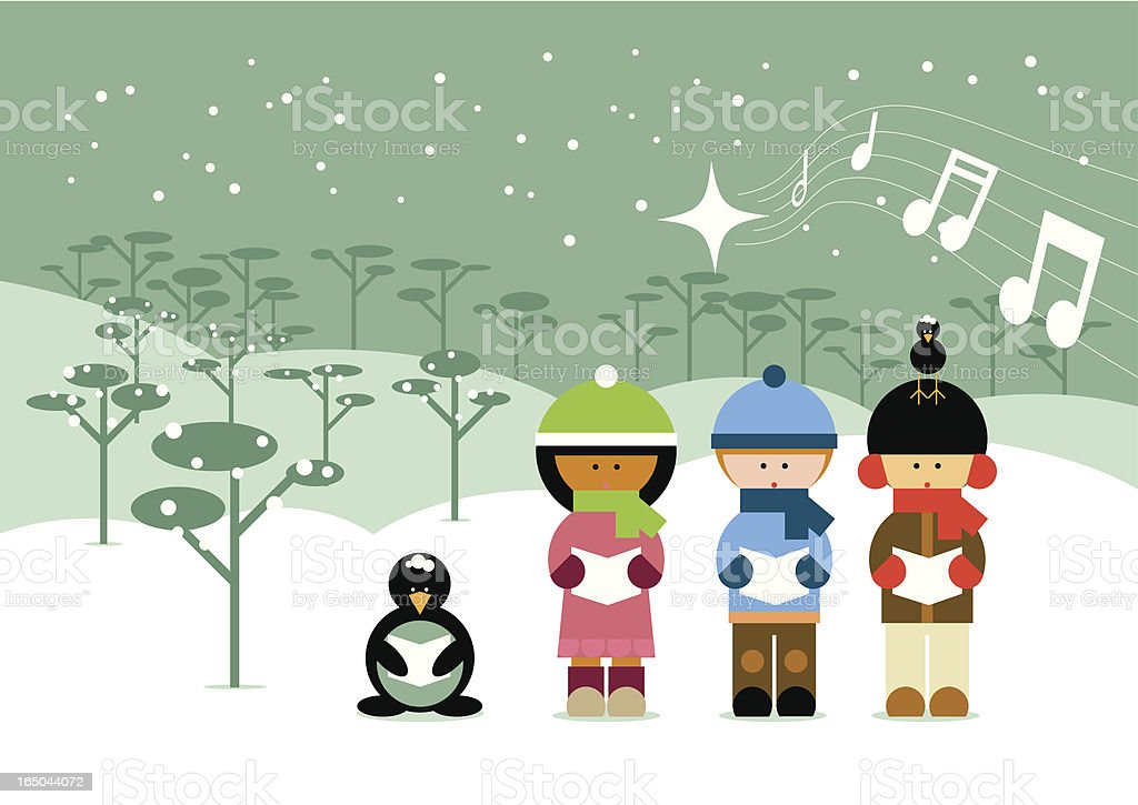 'Globi' christmas carols vector art illustration