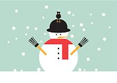 Christmas snowman and bird