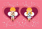 """Globi"" cupids couple in hearted background"