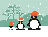 Penguin family wearing Santa Claus hat and someone else