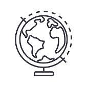 globus vector line icon, sign, illustration on white background, editable strokes
