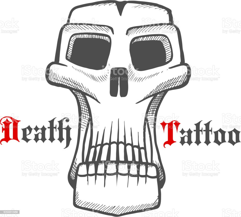 Sombria Cranio Ou Monstro Vintage Desenho Arte Vetorial De Stock