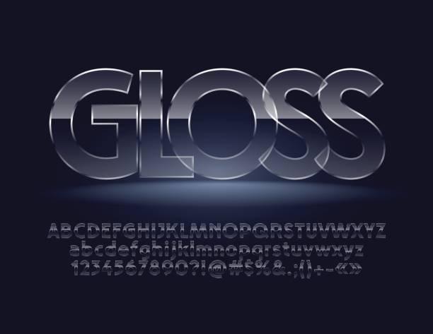 ilustraciones, imágenes clip art, dibujos animados e iconos de stock de brillo de letras del alfabeto vector, símbolos, números - textura de vidrio