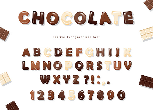 Glossy ABC letters and numbers, made of different kinds of chocolate - dark, milk and white. Sweet font design.