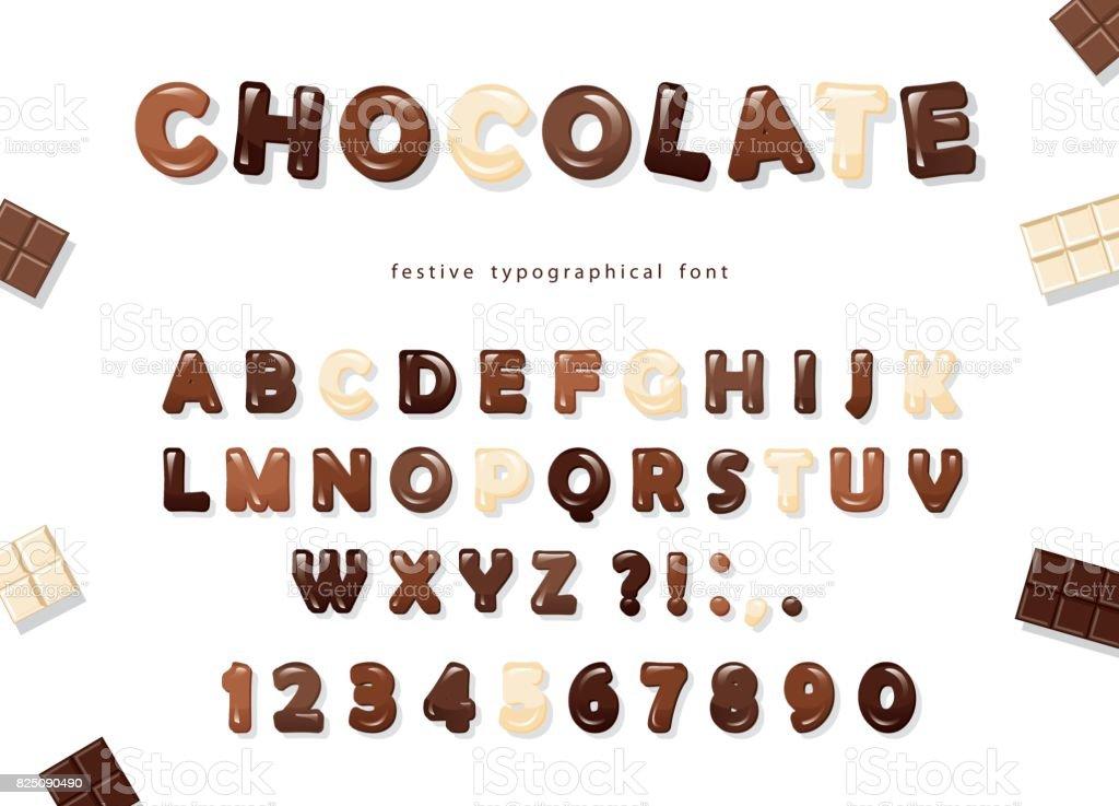 Letras ABC e números, brilhante feita de branco, leite e diferentes tipos de chocolate - escuro. Projeto doce fonte. - ilustração de arte em vetor