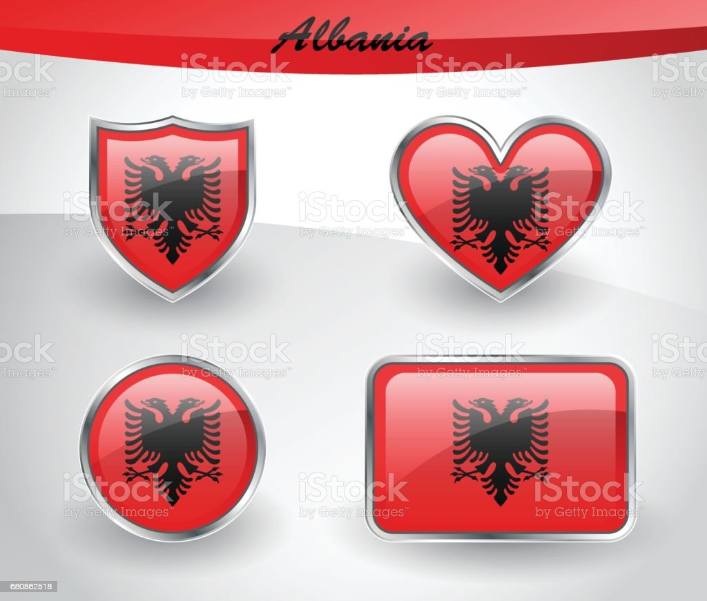 Glossy Albania flag icon set royalty-free glossy albania flag icon set stock vector art & more images of albania