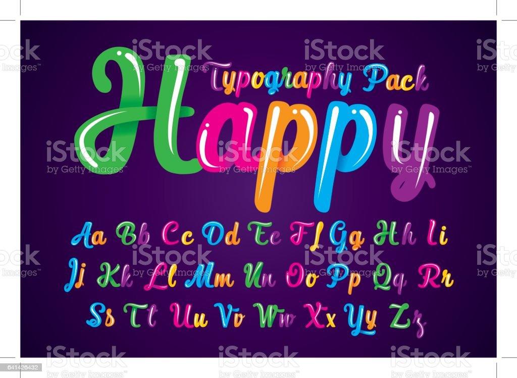 Glossy alphabet vector art illustration