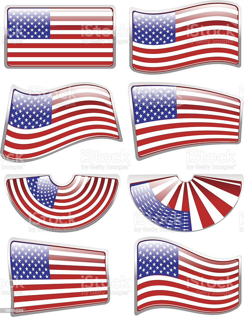 Glossy American Flag vector art illustration