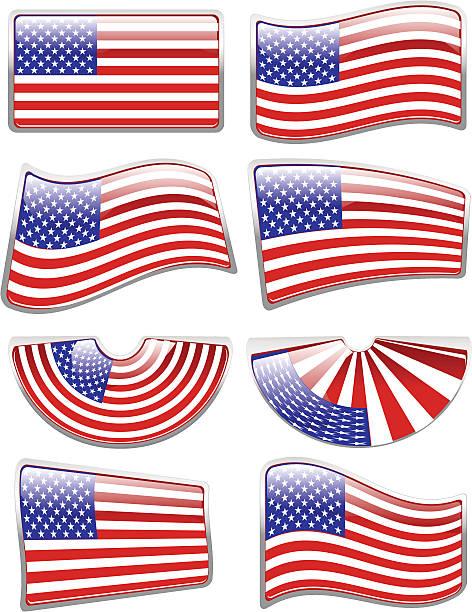 Glossy American Flag vector art illustration