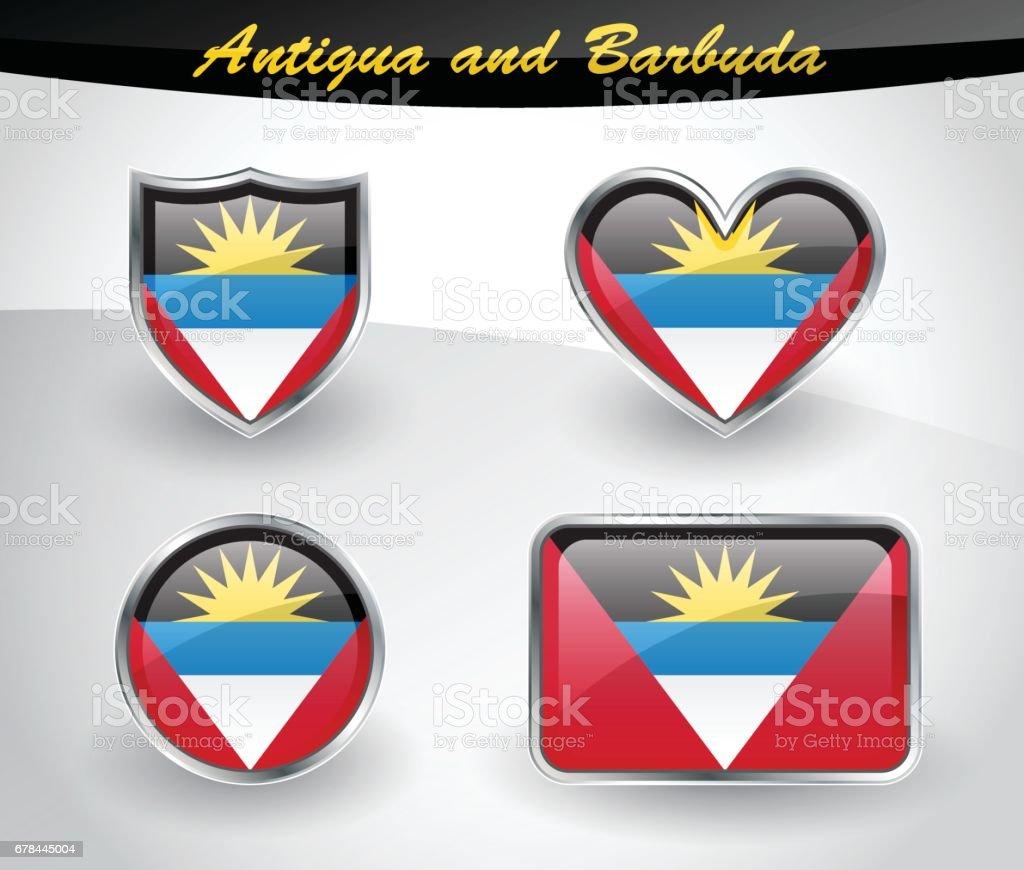 Glossy Antigua and Barbuda flag icon set royalty-free glossy antigua and barbuda flag icon set stock vector art & more images of antigua & barbuda