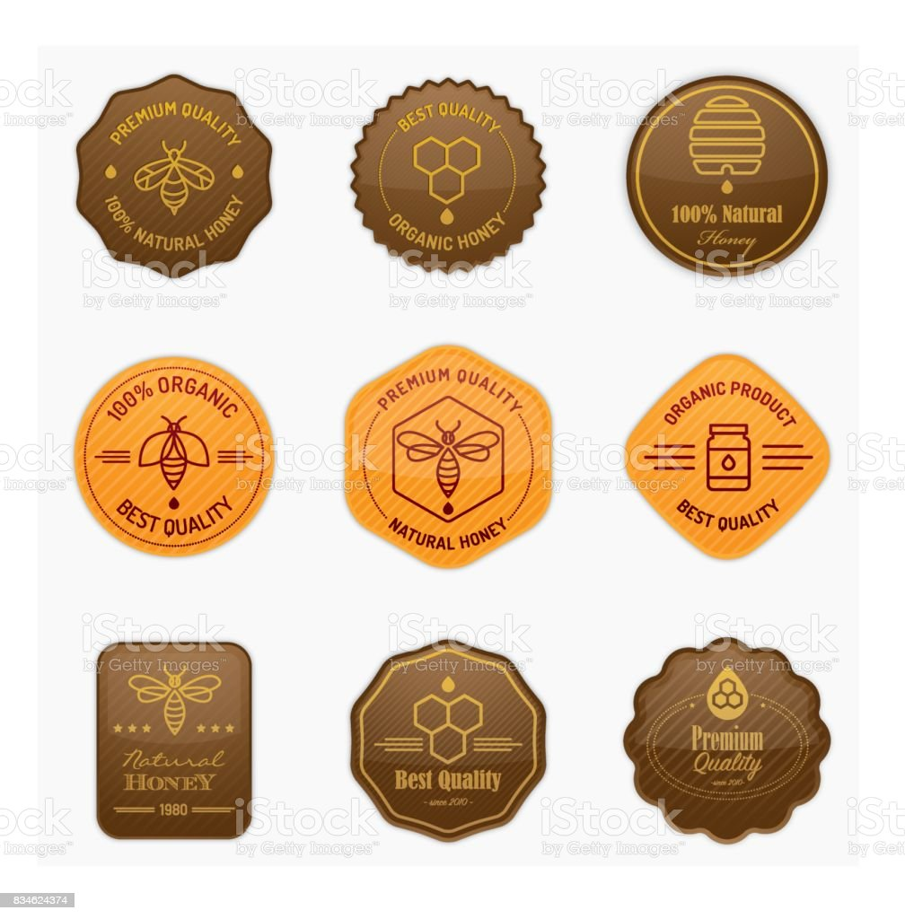 Glossy apiculture and honey badges vector art illustration
