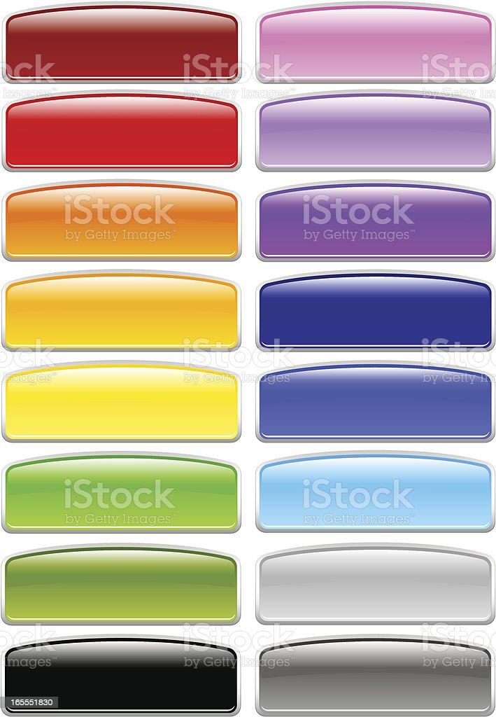 Glossy Arc Rectangle Menu Buttons royalty-free stock vector art