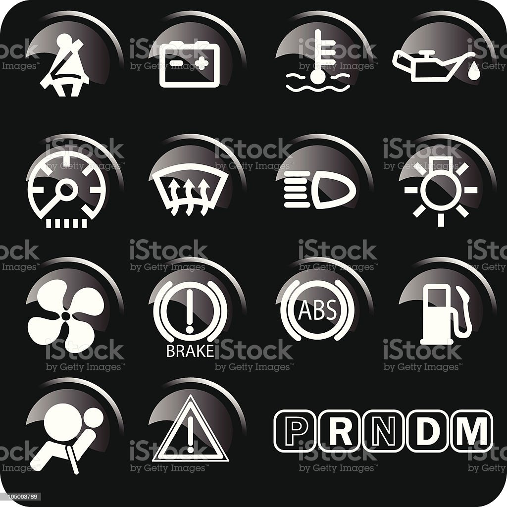 Glossy Automotive Icons royalty-free stock vector art