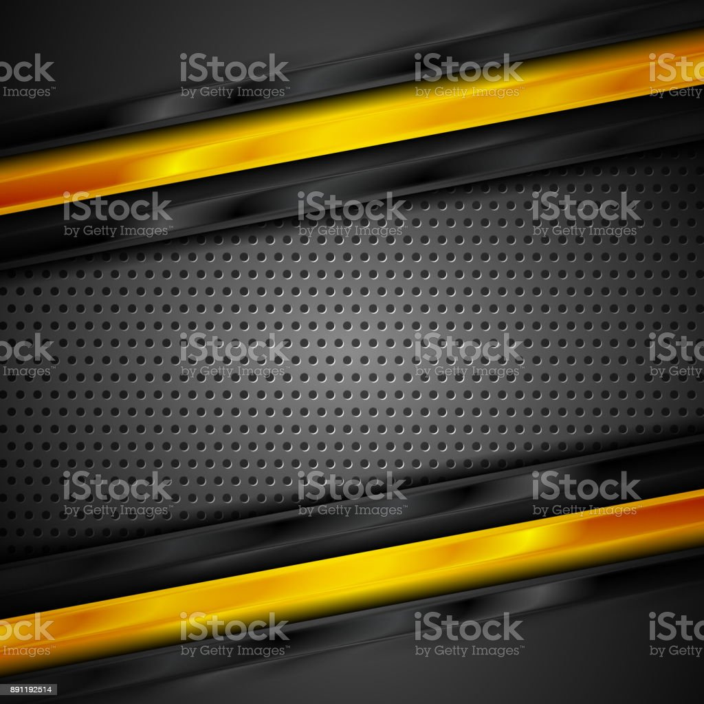 Glossy black and orange stripes on perforated background vector art illustration