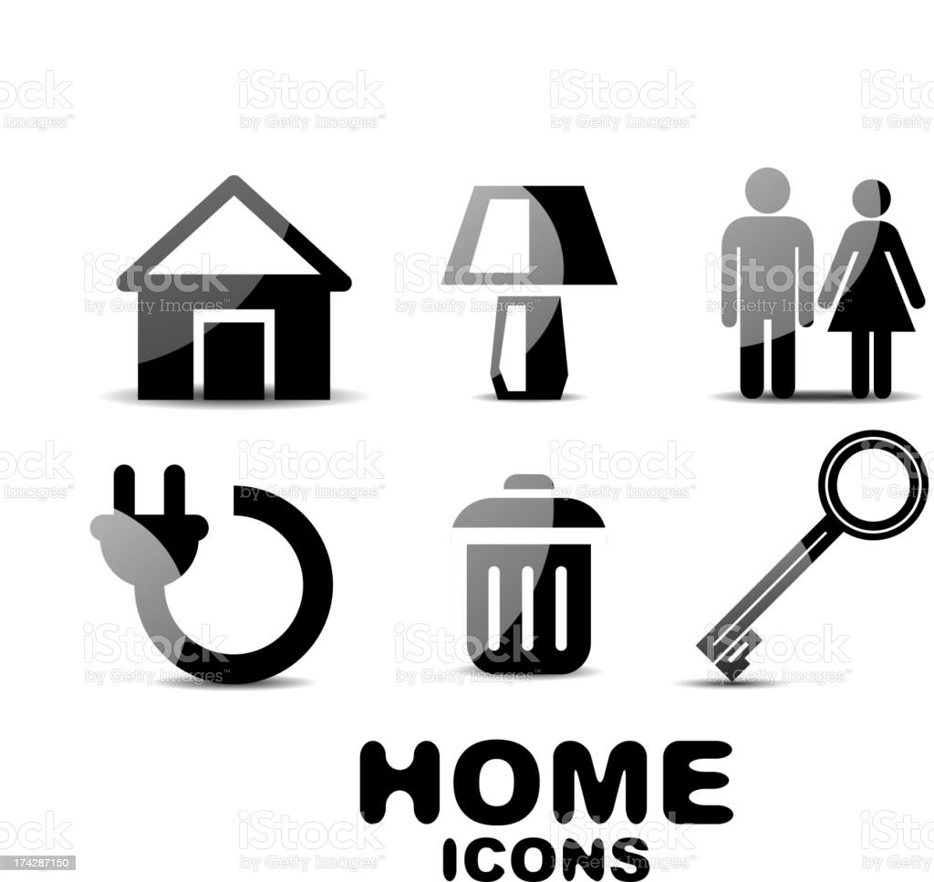 Glossy black and white home icons royalty-free stock vector art