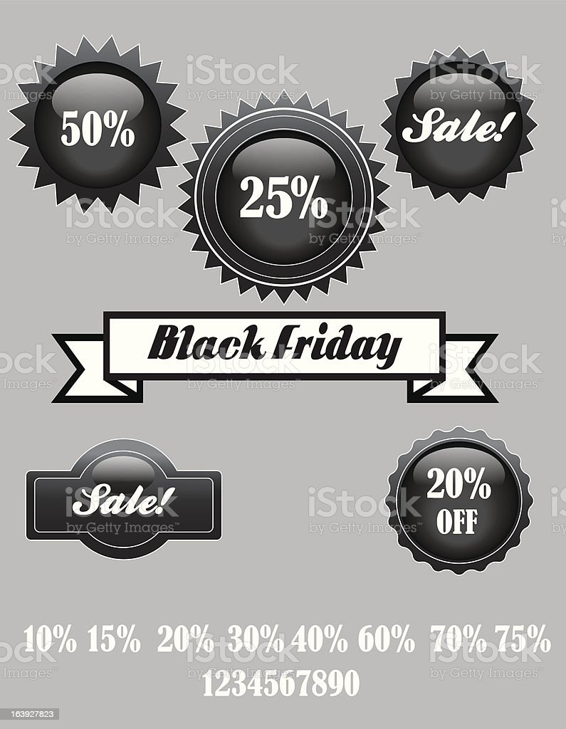 Glossy Black Friday Sale Stickers royalty-free stock vector art