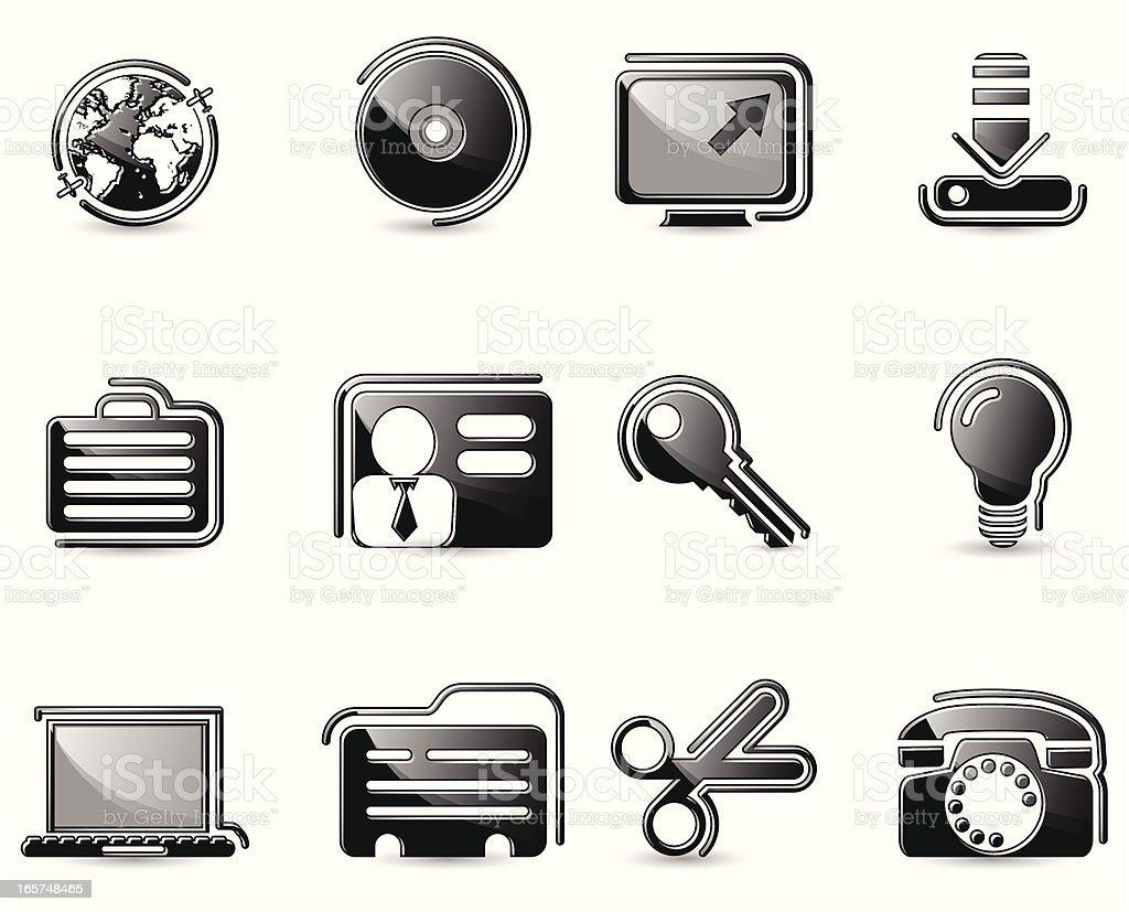 Glossy Black Icons-Social Network royalty-free glossy black iconssocial network stock vector art & more images of alertness