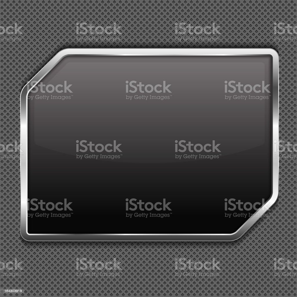 Glossy black rectangular shield with silver chrome trim vector art illustration