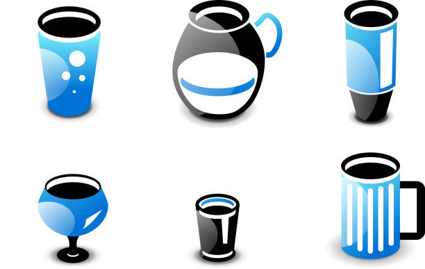 Glossy blue and black minimalistic drink icons Set of glossy black and blue drinks and beverages icons: tall glass, pitcher, thermos bottle, wine, beer mug. drawing of a glass liquor flask stock illustrations