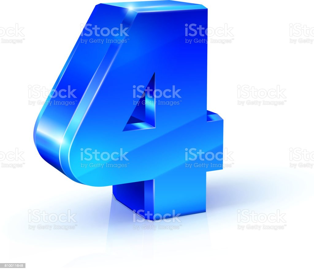 Glossy blue Four 4 number. 3d Illustration on white background vector art illustration