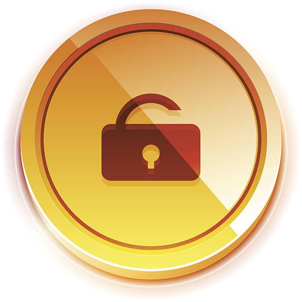 光沢のある鮮やかなロック解除ボタン - グランドオープン点のイラスト素材/クリップアート素材/マンガ素材/アイコン素材