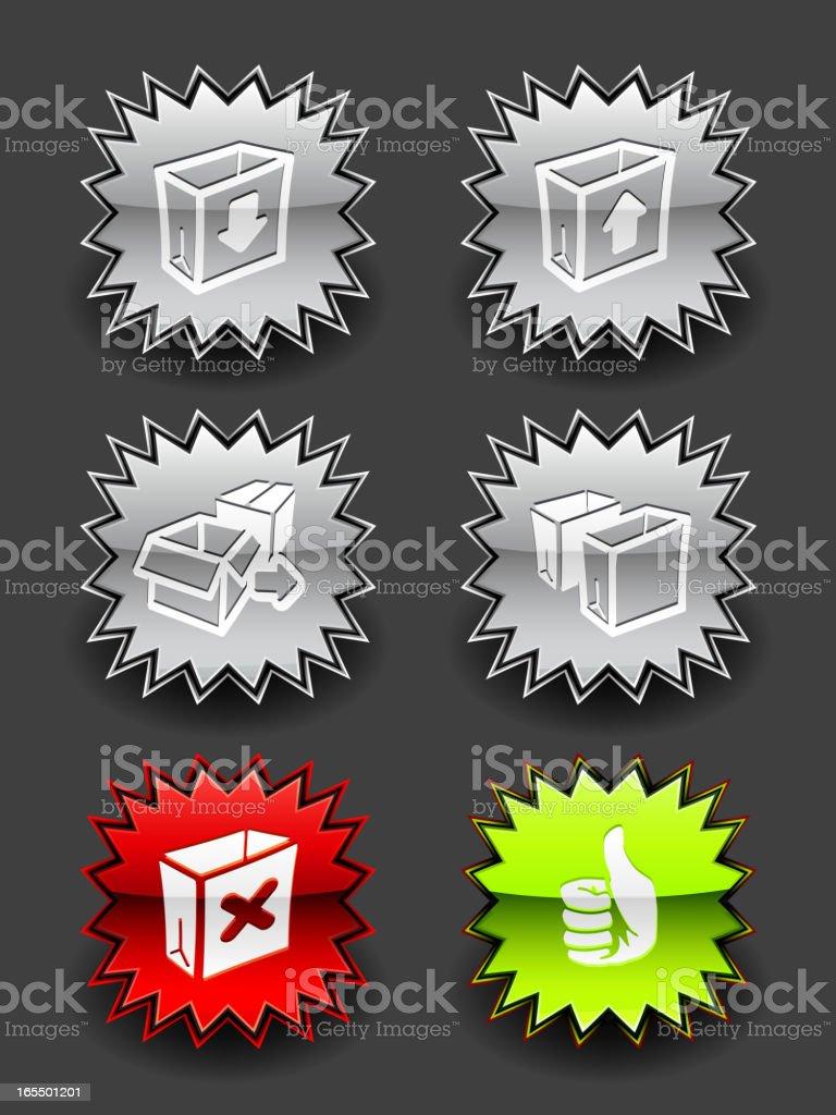 Glossy Burst Shopping Icon Set royalty-free stock vector art