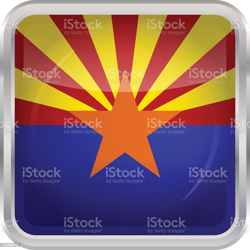 Glossy Button - Flag of Arizona vector art illustration