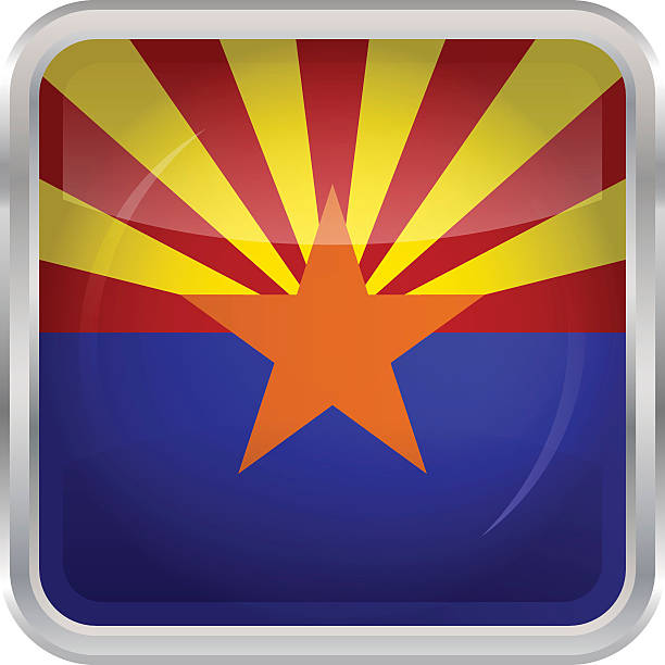 Glossy Button - Flag of Arizona vector art illustration