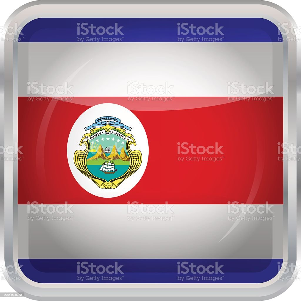 Glossy Button - Flag of Costa Rica vector art illustration