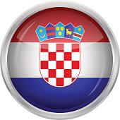 Glossy Button - Flag of Croatia