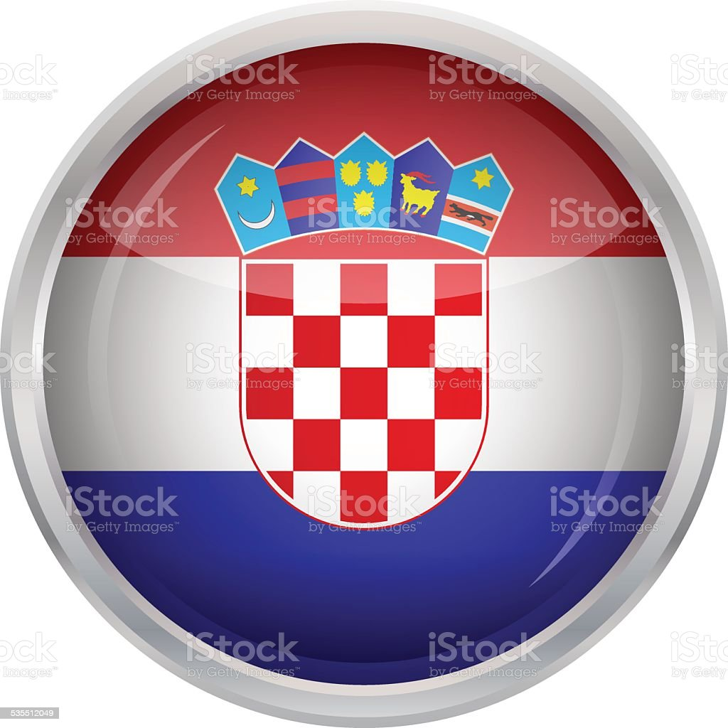 Botón brillante-bandera de croacia - ilustración de arte vectorial
