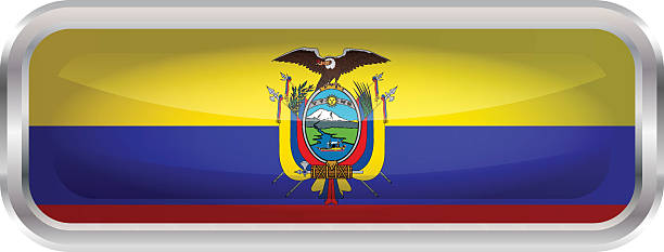 光沢のあるボタンフラグのエクアドル ベクターアートイラスト