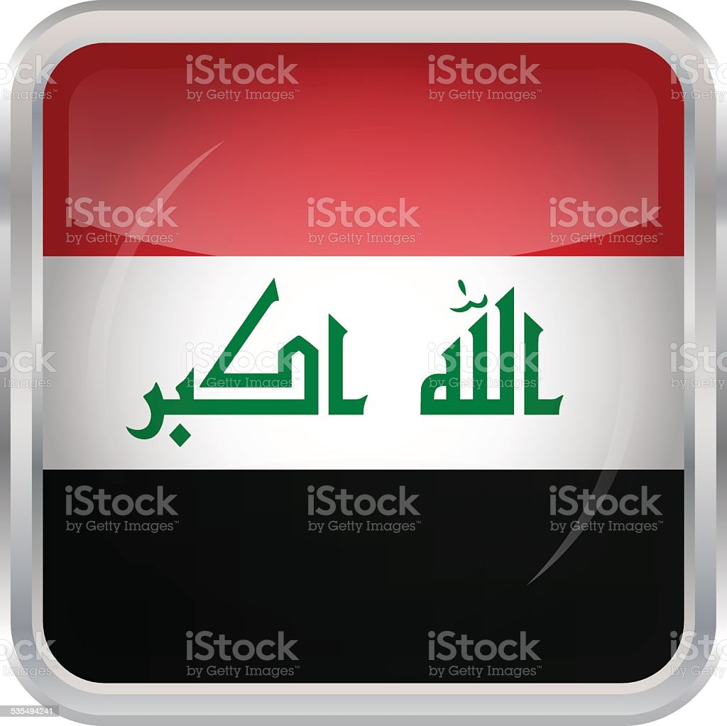 Glossy Button - Flag of Iraq vector art illustration