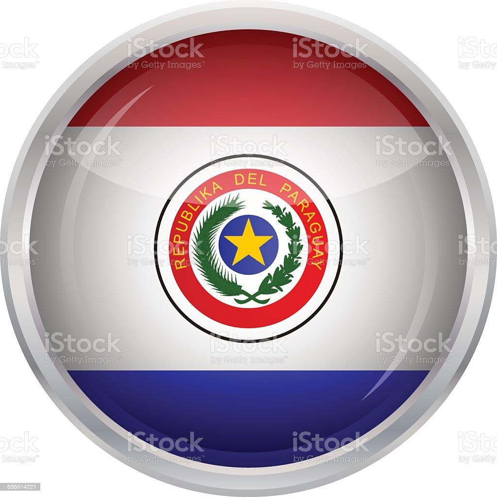 Botón brillante-bandera de Paraguay - ilustración de arte vectorial