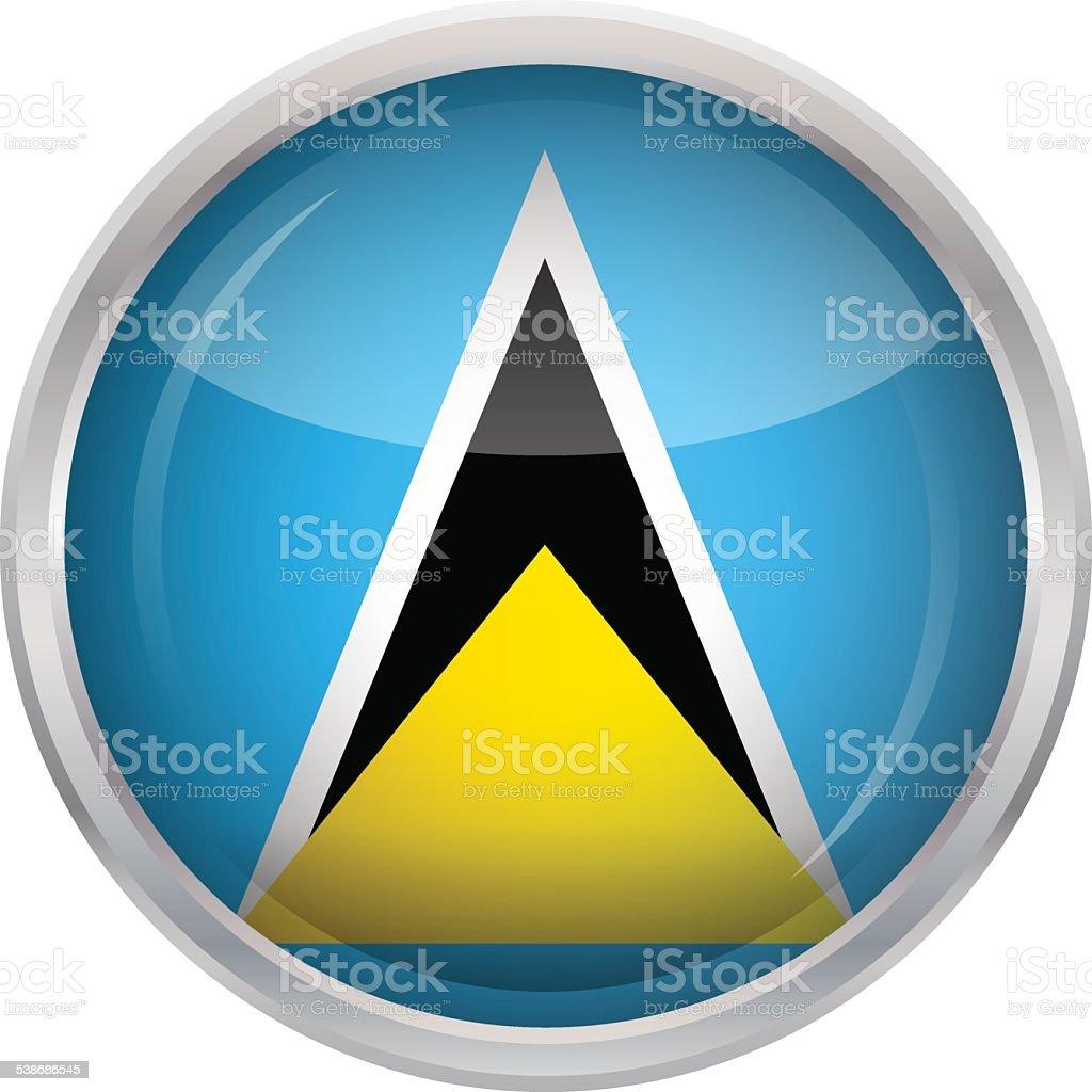 Glossy Button - Flag of Saint Lucia vector art illustration
