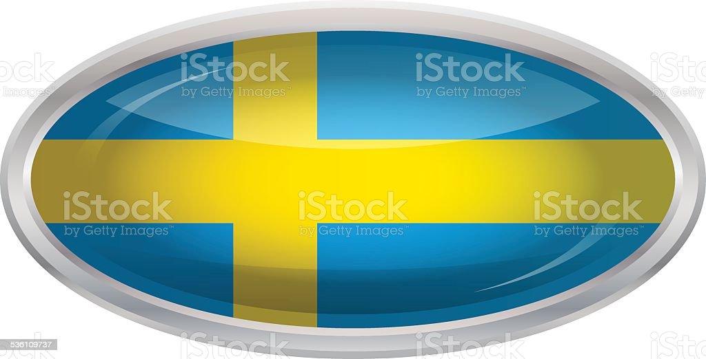 光沢のあるボタンフラグのスウェーデン ベクターアートイラスト