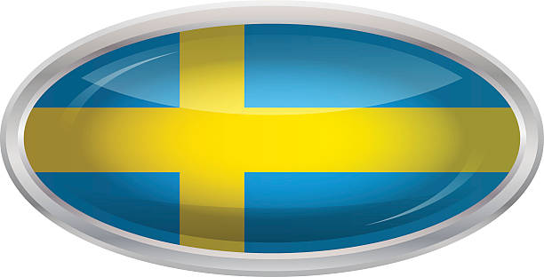 光沢のあるボタンフラグのスウェーデン - スウェーデンの国旗点のイラスト素材/クリップアート素材/マンガ素材/アイコン素材