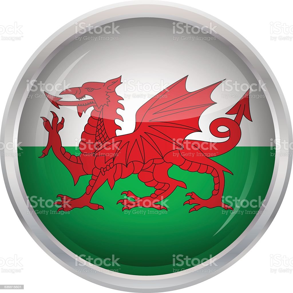 Glossy Button - Flag of Wales vector art illustration