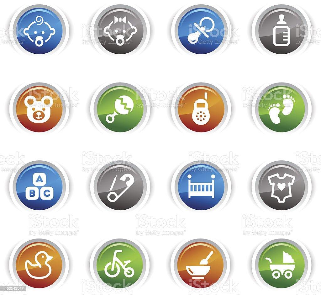 Glossy Buttons -  Baby icons vector art illustration