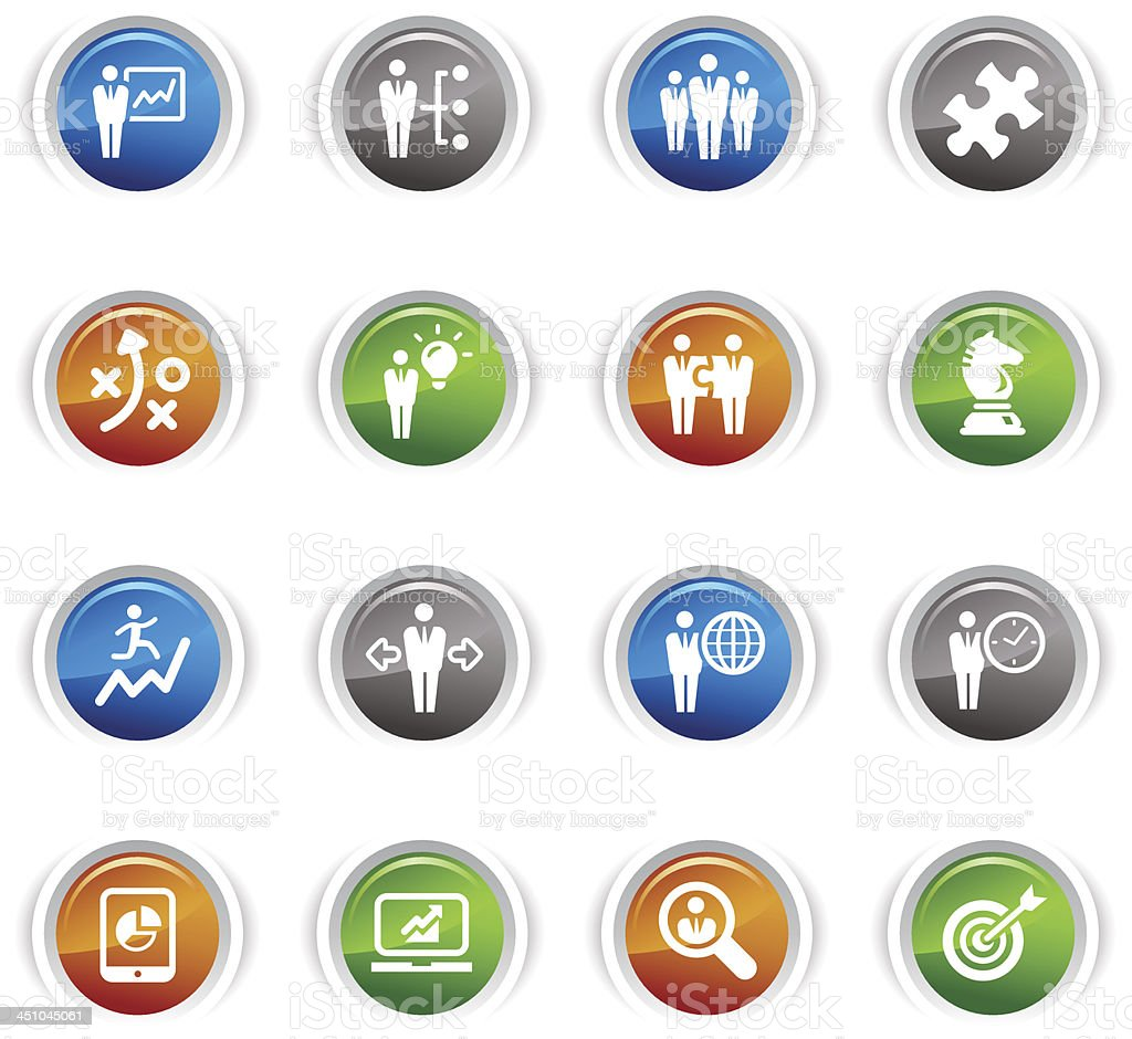 Glossy Buttons - Business strategy and management icons royalty-free stock vector art