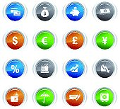 Glossy buttons - Finance icons 01