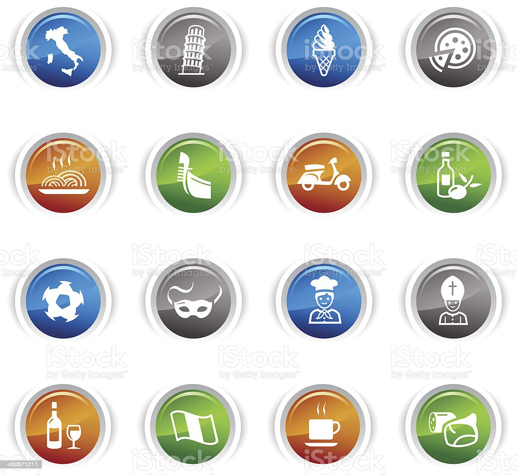 Glossy Buttons - Italian Icons royalty-free glossy buttons italian icons stock vector art & more images of bacon