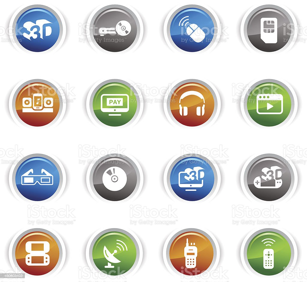 Glossy Buttons - Media Icons royalty-free stock vector art